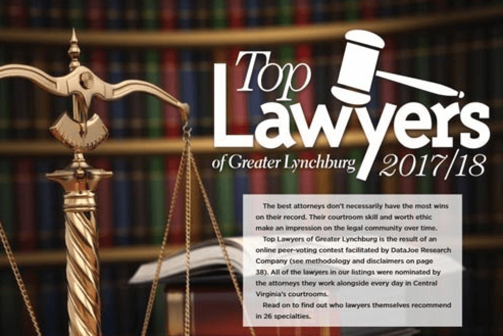 David Cox voted by his peers as Lynchburg's Top Lawyer in Lynchburg Business Magazine for 2017-2018